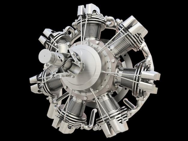 古い円形航空機の内燃エンジン。 3dレンダリング。