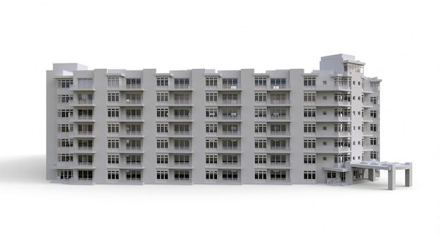 Модель кондоминиума белого цвета с прозрачными стеклами. жилой дом с двором. 3d-рендеринг.