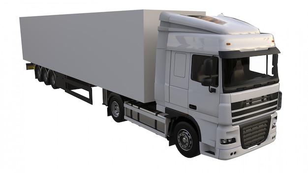 セミトレーラー付き大型白いトラック。グラフィックを配置するためのテンプレート。 3dレンダリング。