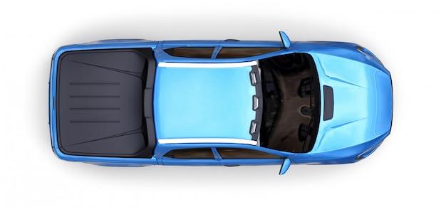 Иллюстрация 3d голубого грузовика пикапа концепции на белизне изолировала