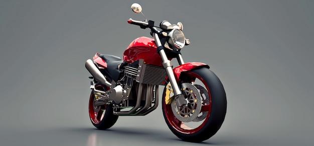 Красный городской спортивный двухместный мотоцикл на серый. 3d иллюстрации