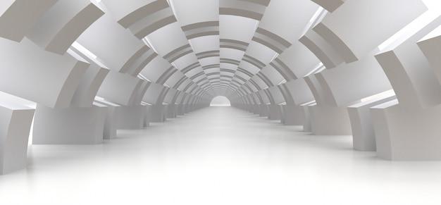 あなたのデザインの抽象的な背景としての長い白いトンネル。 3d。
