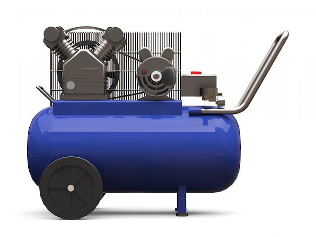 Синий горизонтальный воздушный компрессор изолированы. 3d-рендеринг.