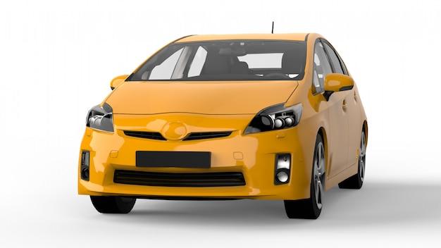 地面に影を持つ現代家族のハイブリッド車黄色。 3dレンダリング。