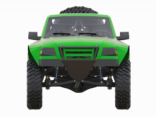 Самый подготовленный зеленый спортивный гоночный грузовик для пустынной местности. 3d-рендеринг.