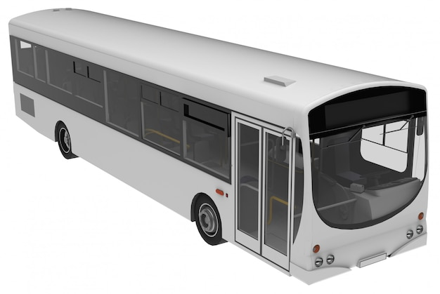 Городской белый автобус шаблон. пассажирский транспорт. 3d-рендеринг.