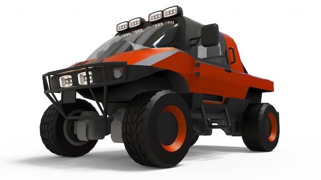 困難な地形、困難な道路および気象条件向けの特別な全地形車両。 3dレンダリング。