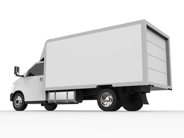 小さな白いトラック。車の配達サービス。小売店への商品および製品の配送。 3dレンダリング。