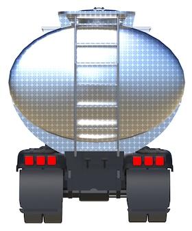磨かれた金属製のトレーラーを備えた大型の赤いトラックタンカー。あらゆる側面からの眺め。 3dレンダリング。