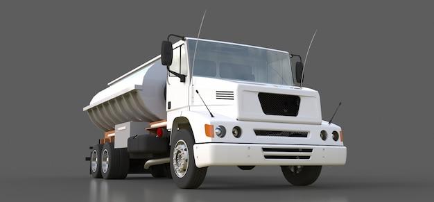 磨かれた金属製のトレーラーを備えた大型の白いトラックタンカー。あらゆる側面からの眺め。 3dレンダリング。