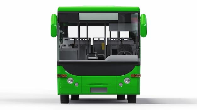 小さな都市のグリーンバス。 3dレンダリング。