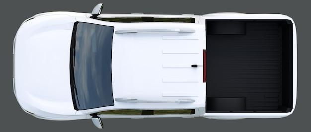 ダブルキャブ付きの白い商用車配送トラック。ロゴとラベルに対応する、きれいな空のボディを備えた記章のない機械。 3dレンダリング。