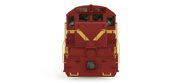 長くて重い鉄道列車を動かすための大きな力と強さを備えた現代のディーゼル鉄道機関車。 3dレンダリング。