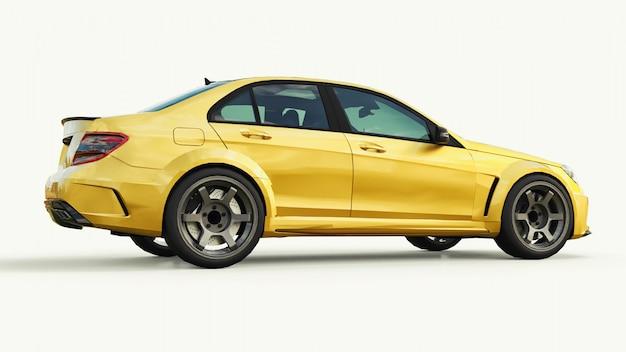 Супер быстрый спортивный автомобиль цвет золотой металлик. форма кузова седан. тюнинг это версия обычного семейного автомобиля. 3d-рендеринг.