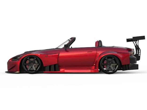 現代の暗い赤いスポーツコンバーチブル。チューニング付きのオープンカー。 3dレンダリング。