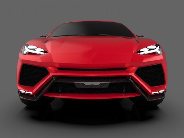 Новейший спортивный полноприводный красный премиум-кроссовер в серой студии со светоотражающим полом. 3d-рендеринг.