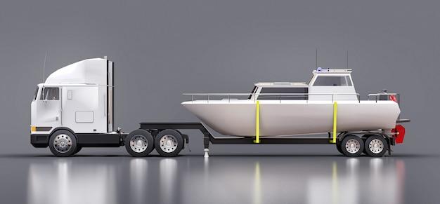 ボートを輸送するためのトレーラー付きの大きな白いトラック。 3dレンダリング。