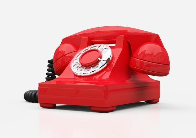 Старый красный телефон на белой предпосылке. 3d иллюстрации