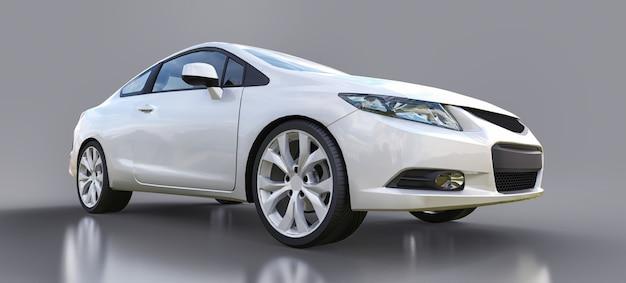 Белый маленький спортивный автомобиль купе. 3d-рендеринг.