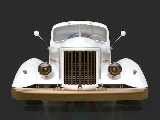 Старый восстановленный пикап. пикап в стиле хотрод. 3d иллюстрации белый автомобиль на черном фоне.