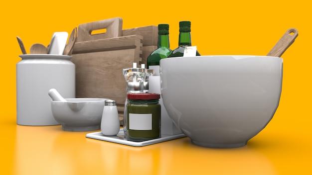 黄色の背景に瓶に台所用品、油、缶詰の野菜。 3dレンダリング。
