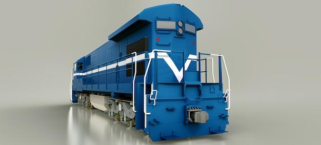 長くて重い鉄道列車を動かすための大きな力と強さを備えた現代の青いディーゼル鉄道機関車。 3dレンダリング。