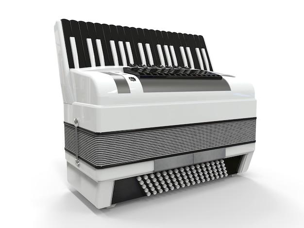 Черно-белый аккордеон на сером фоне изолированных. 3d иллюстрации