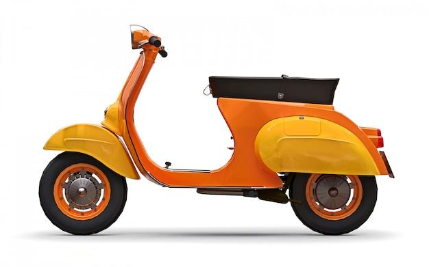 白い背景の上のビンテージヨーロッパオレンジスクーター。 3dレンダリング。