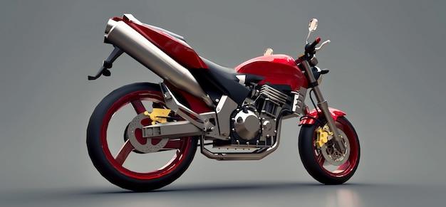 Красный городской спортивный двухместный мотоцикл на сером фоне. 3d иллюстрации