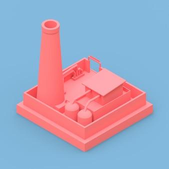 最小限のスタイルで等尺性漫画工場。青色の背景にピンクの建物。 3dレンダリング。