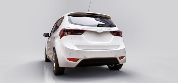 Белый городской автомобиль с пустой поверхностью для вашего творческого дизайна. 3d рендеринг.