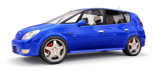 Синий городской автомобиль с пустой поверхностью для вашего творческого дизайна. 3d иллюстрации