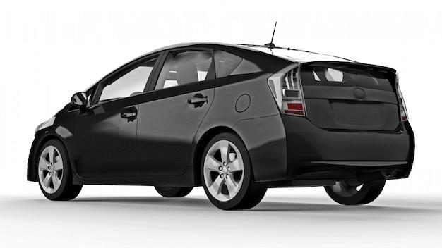 地面に影で白い背景に現代家族のハイブリッド黒車。 3dレンダリング。