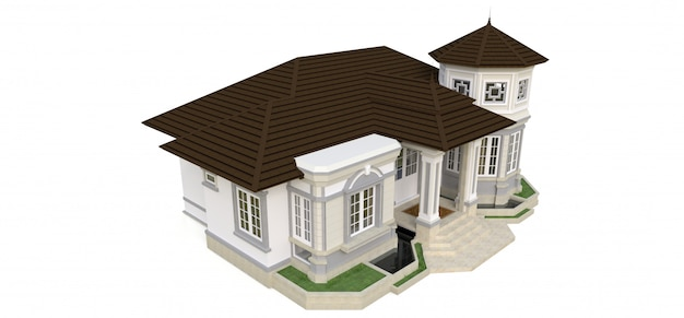 ビクトリア朝様式の古い家。白い背景のイラスト。異なる側面からの種。 3dレンダリング。