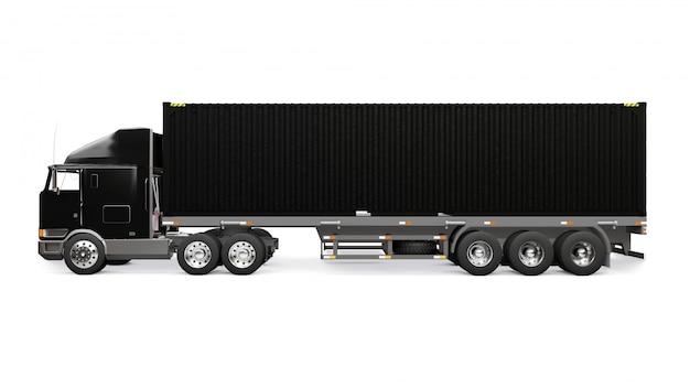 寝台部分と空気力学的延長部を備えた大型のレトロな黒トラックは、海上コンテナ付きのトレーラーを運びます。 3dレンダリング。