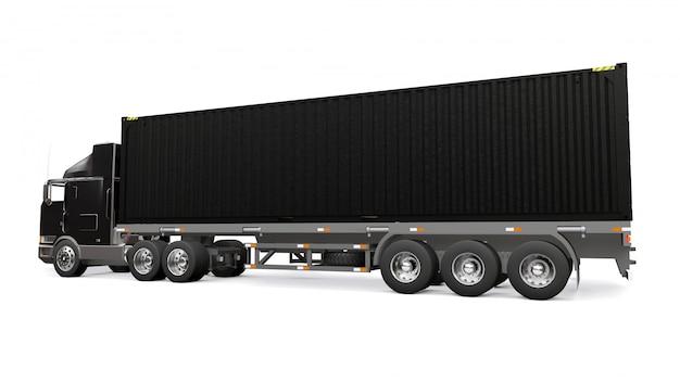 Большой ретро черный грузовик со спальной частью и аэродинамическим удлинителем несет трейлер с морским контейнером. 3d-рендеринг.