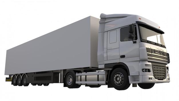 セミトレーラーと大型の白いトラック。グラフィックを配置するためのテンプレート。 3dレンダリング。