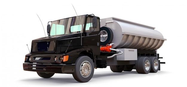 Большой черный автоцистерна с прицепом из полированного металла. взгляды со всех сторон. 3d иллюстрации