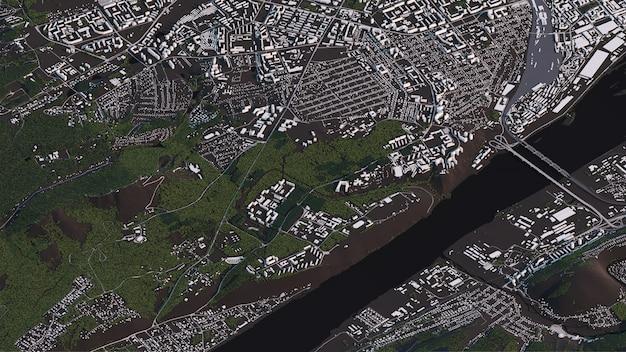 Карта красноярска в 3d изометрии пейзаж дорог и зданий