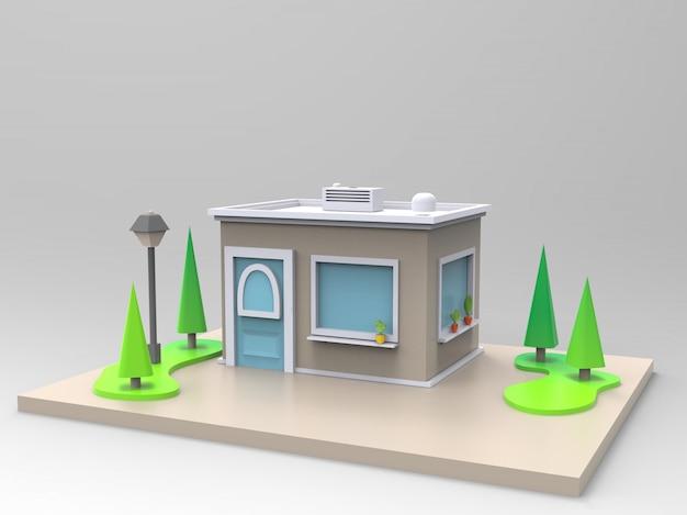 Иллюстрация 3d уютного кафе, чая или кофейни с красным тентом и деревьями и фонариком
