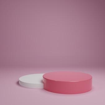 Белая розовая пастельная стойка продукта на предпосылке. абстрактное понятие минимальной геометрии. студия подиума на платформе темы. выставочный бизнес, маркетинг, презентация, этап. 3d иллюстрации визуализации графического дизайна