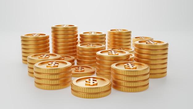 Куча штабелировать башню денег золотой монетки на изолированной белой стене. экономия денег и бизнес-концепция экономических инвестиций. рендеринг 3d иллюстрации