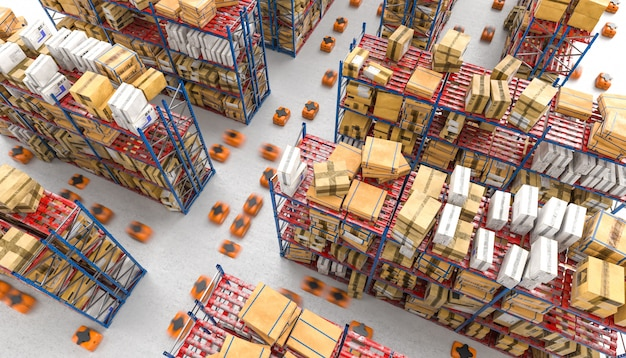 Изображение представленное 3d современного автоматизированного склада с дронами