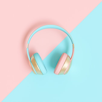 ピンクとブルーのオーディオヘッドフォン3d