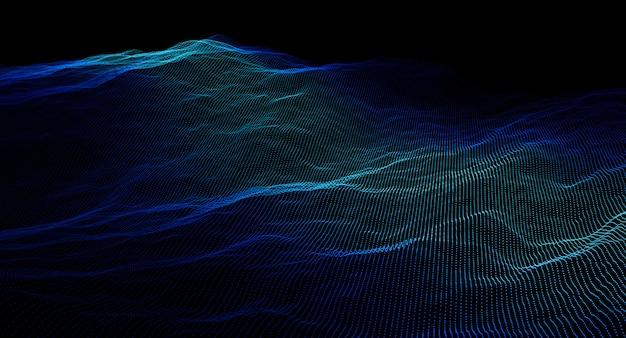3d изображение визуализации пунктирной голубой волны фона