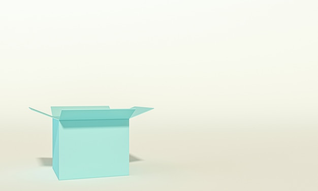 Изображение 3d пустой коробки, никто вокруг.