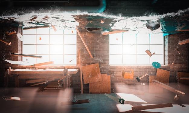 3d представляют изображение совершенно затопленной мастерской плотничества.