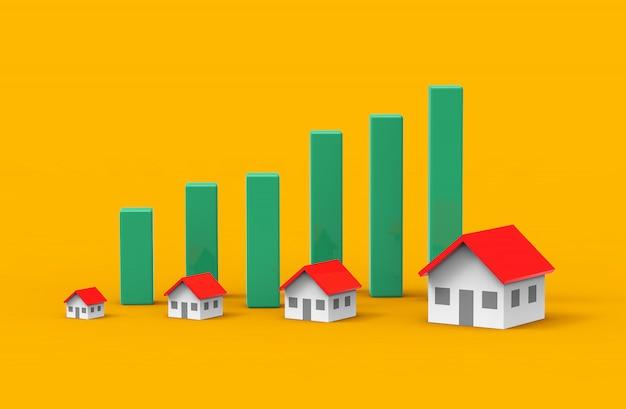 緑のグラフで不動産ビジネスの成長。 3dイラストレーション。