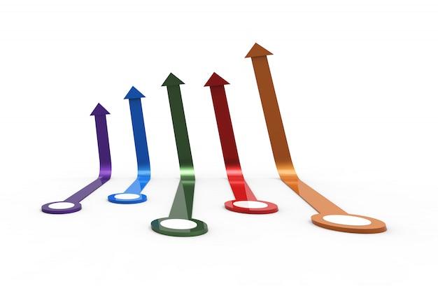 カラフルな矢印。成長するビジネスコンセプト。3dレンダリング。