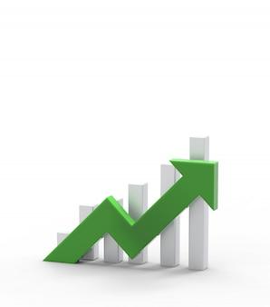 緑の矢印とグラフ。成長するビジネスコンセプト。3dレンダリング。